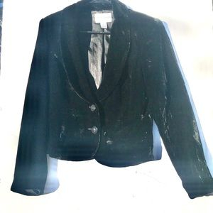 WHBM Black Velvet Blazer Jacket | M